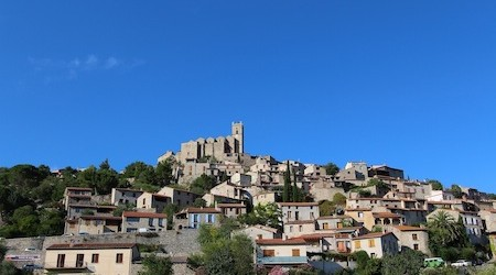 Eus looks lovely against the hillside and blue sky