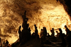 Which are the people and which are the stalagmites