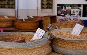 Traditional baskets of beans