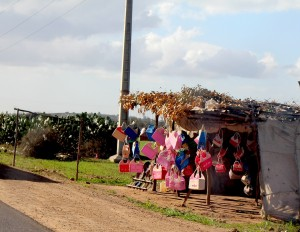 Brightly coloured baskets for sale along the road