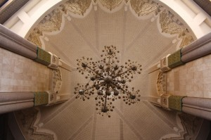 Ceiling decoration and crystal chandeliers in the Hassan II Mosque in Casablanca