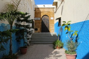 Entrance to a mosque in Rabat kasbah - the sign says Mulims only