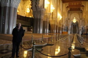 Geoff at the Hassan II Mosque, Casablanca. King Hassan decreed non-Muslims should be allowed inside
