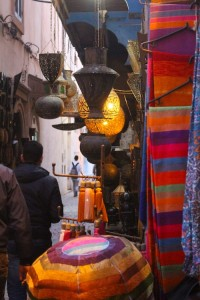 Lamps and drapes in the Essaouira medina