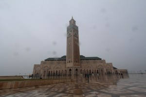 The Hassan II Mosque in Casablanca in the pouring rain