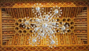 Wooden roof and Venetian crystal chandelier at the Hassan II mosque, Casablanca