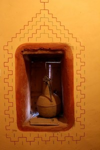 Pitcher of water in a window alcove