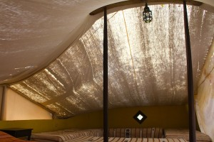 The bowed span, held up with two struts, keeps the classic Berber shape to the tent