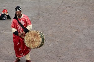 Drumming is an essential part of the day in Djemaa el-Fna