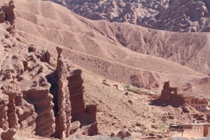 Gripping the sides of the Gorges du Dades, strange rock formations are a characteristic of the valley