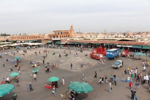 Morning time at Djemaa el-Fna and the square is barely awake - a shadow of its night life