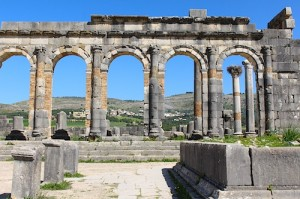 Volubilis archways, looking back toward Moulay Idriss