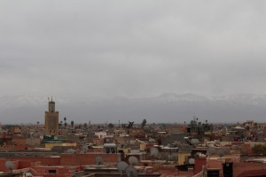 Welcome to Marrakech - with the snow caps faintly showing in the distance