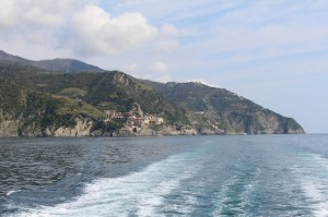 Looking back along the Cinque Terre coastline from the local ferry