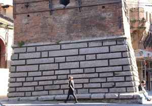 The base of one of the leaning towers of Bologna