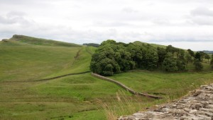 Hadrian's Wall stretching into the distance
