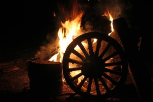 Wheels on fire - our last night campfire.