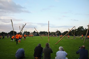 A caber-tossing frenzy