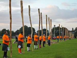 The caber-tossers are standing by for the record attempt