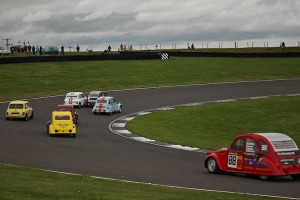 The white mini got pranged here on the first corner of the race