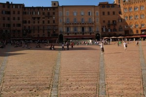 Siena's piazza is divided into nine sections to form a shell-shaped space