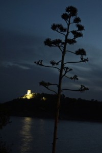 The Sardinian tower across the bay from our campsite at dusk