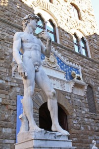The copy of David, standing where the real thing was originally placed