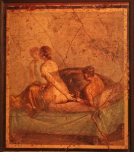 Erotic art from the brothel in Pompeii, on display in the Naples Archaeology Museum