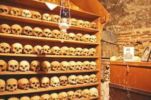 Skulls and bones of the long departed monks of Megalo Meteoro monastery
