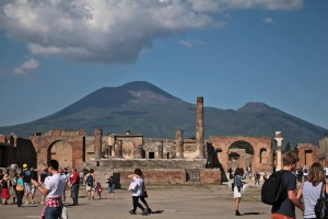 The Forum would have bee bustling with life as Vesuvius exploded above them