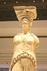 The caryatid's face was chiselled off by Elgin, but she is still beautiful