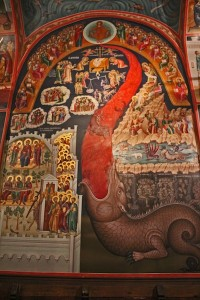 The monks painted brilliant but graphic stories in the churches