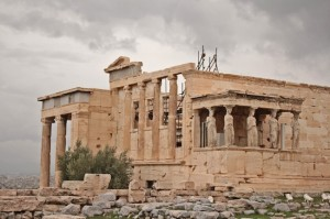 The old Temple of Athena and the caryatids, with a space left for the one in the British Museum