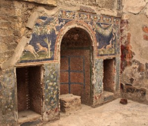 The remains of a beautiful mosaic decorating an ornamental alcove