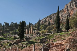 The remains of the powerful temple of the Oracle at Delphi