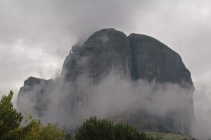 When the mist rolls in, the monasteries are lost in the clouds