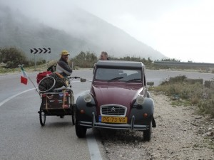 Johan from the Netherlands, on the side of a road in Albania