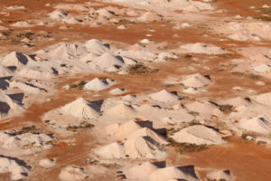 A tiny part of Coober Pedy's moonscape of mine shafts