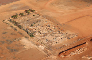 The Coober Pedy cemetery on a ridge above the town