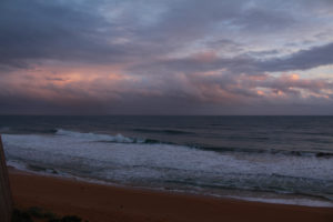 Dramatic winter evening skies and seas