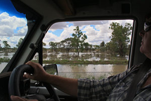 Even though it was high summer, the flood waters were right up to the road