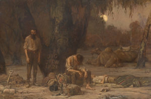 John Longstaff's painting of the arrival of the two men at the Dig Tree