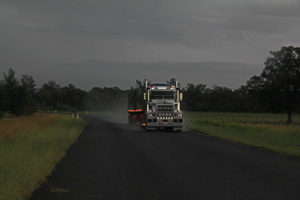 Road trains stop for nothing - even the rain