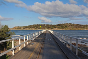The road and rail to Granite Island, off Victor Harbor