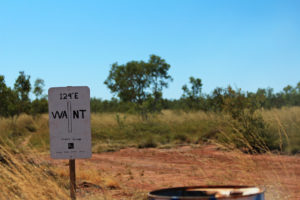 The boundary marker between West Australia and Northern Territory